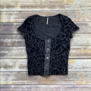 Free People Wool and Rabbit Short Sleeve Sweater
